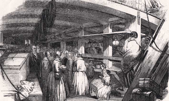 """Typical conditions for """"Steerage"""" passengers in the 1850s"""